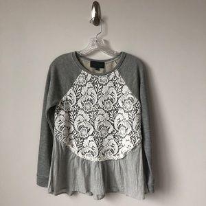 Anthro Sunday In Brooklyn Lace Skirted Sweatshirt